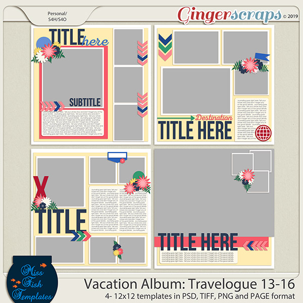 Vacation Album: Travelogue Templates 13-16 by Miss Fish
