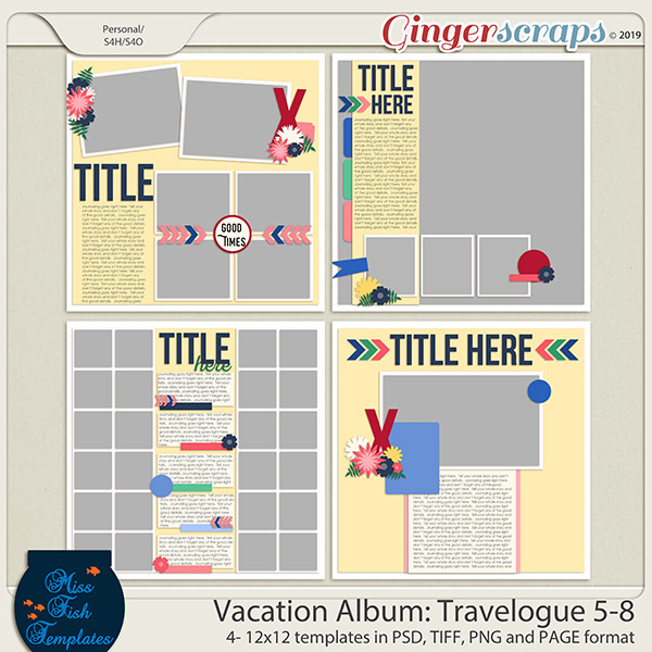 Vacation Album Travelogue Templates 5-8 by Miss Fish