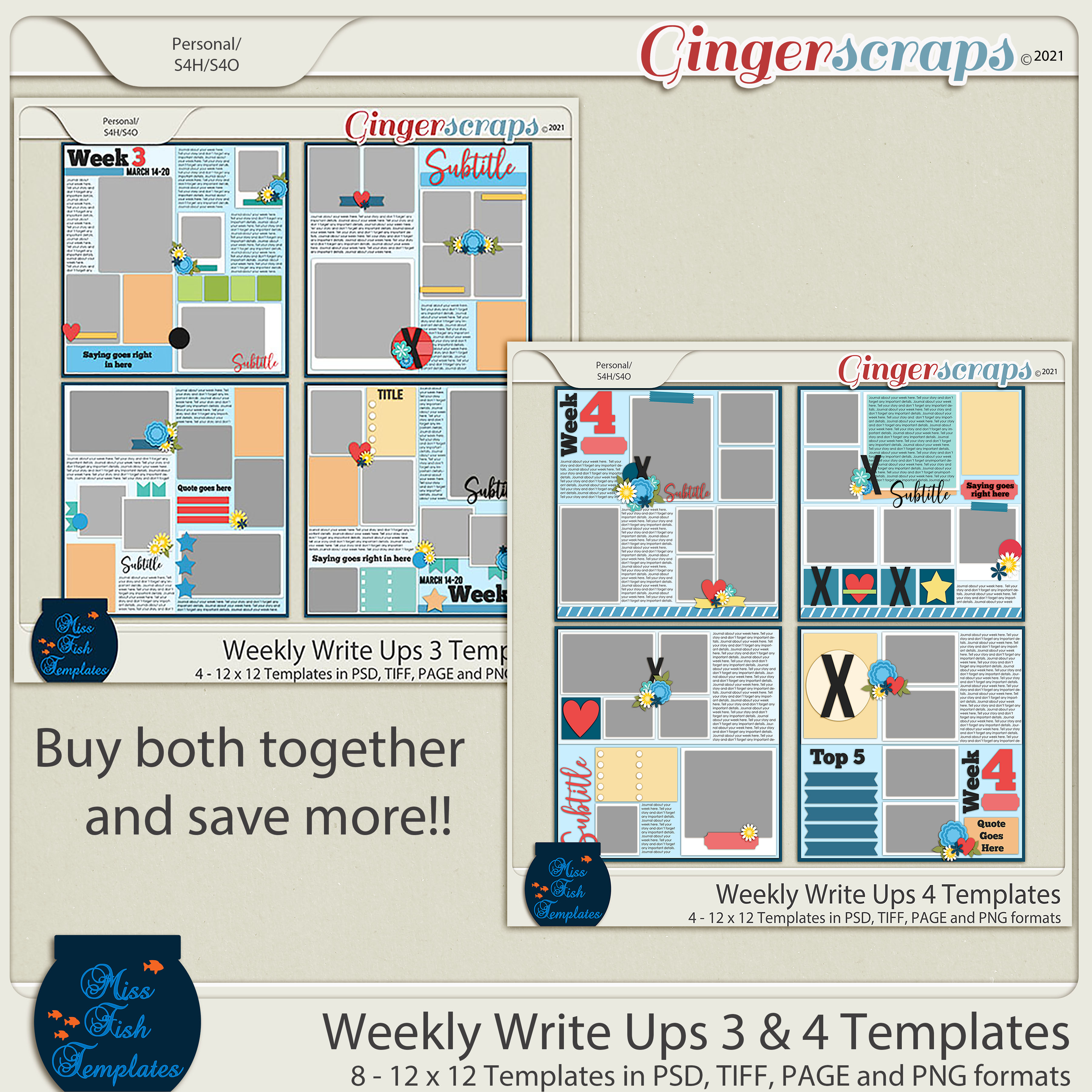 Weekly Write Ups 3 and 4 Templates by Miss Fish