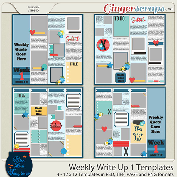 Weekly Write Ups 1 Templates by Miss Fish