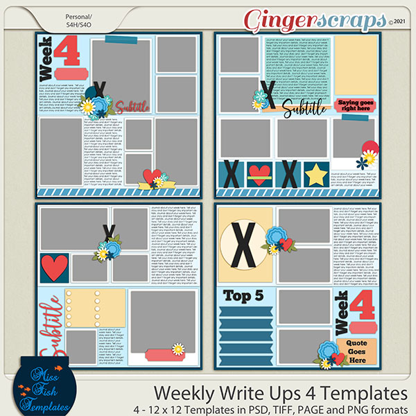 Weekly Write Ups 4 Templates by Miss Fish