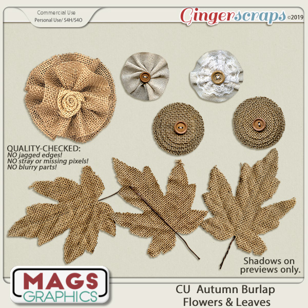 CU Autumn Burlap Flowers & Leaves by MagsGraphics
