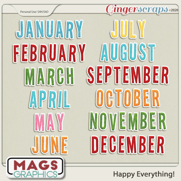 Happy Everything MONTHLY TITLES by MagsGraphics