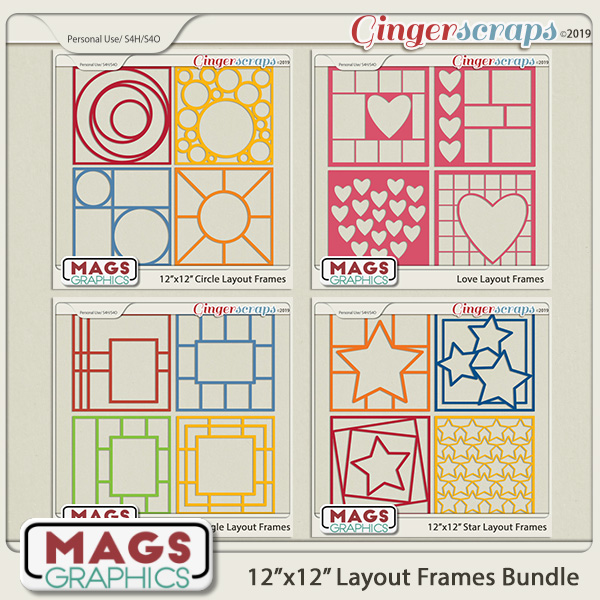 12x12 Layout Frame Template BUNDLE by MagsGraphics