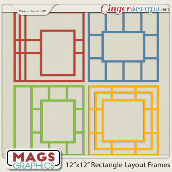 12x12 Rectangle Layout Frame Templates by MagsGraphics