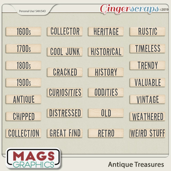 Antique Treasures WORD TAGS by MagsGraphics