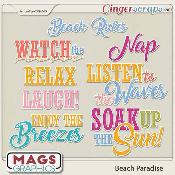 Beach Paradise WORD ART by MagsGraphics