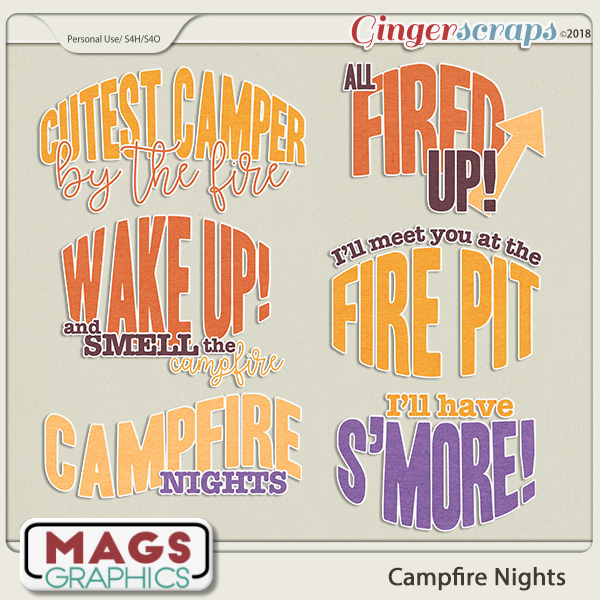 Campfire Nights WORD ART by MagsGraphics