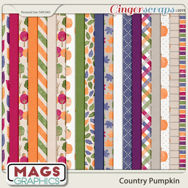Country Pumpkin PAPERS by MagsGraphics