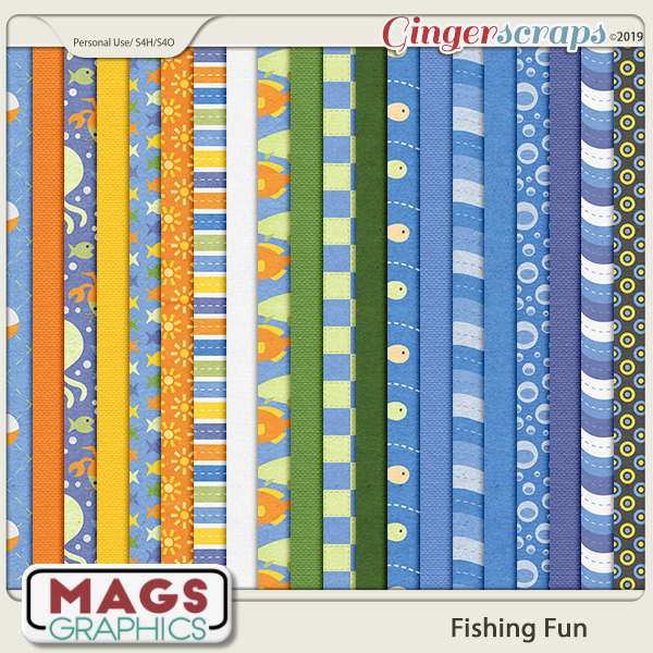 Fishing Fun PAPER PACK by MagsGraphics