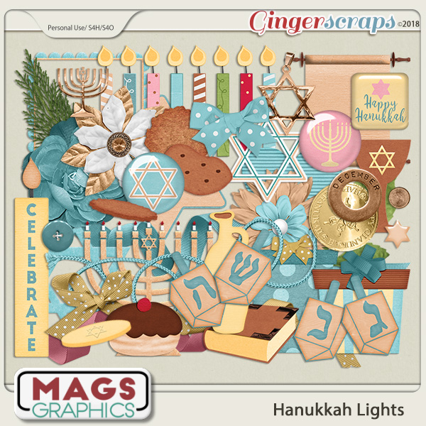 Hanukkah Lights ELEMENTS by MagsGraphics
