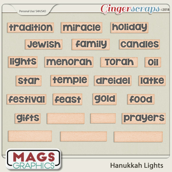 Hanukkah Lights WORD TAGS by MagsGraphics
