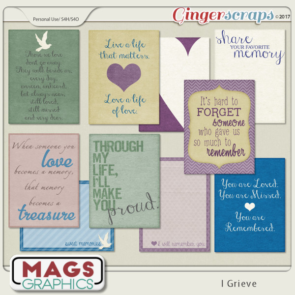 I Grieve JOURNAL CARDS by MagsGraphics