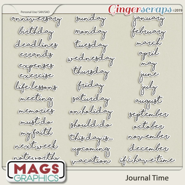 Journal Time WORD STICKERS by MagsGraphics