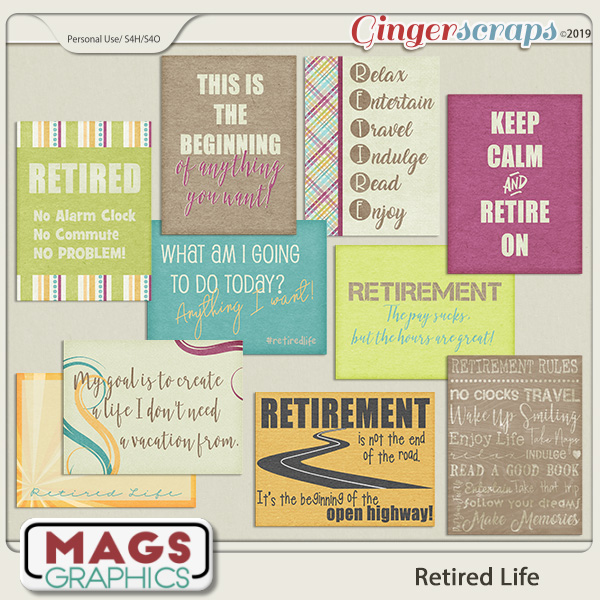Retired Life JOURNAL CARDS by MagsGraphics