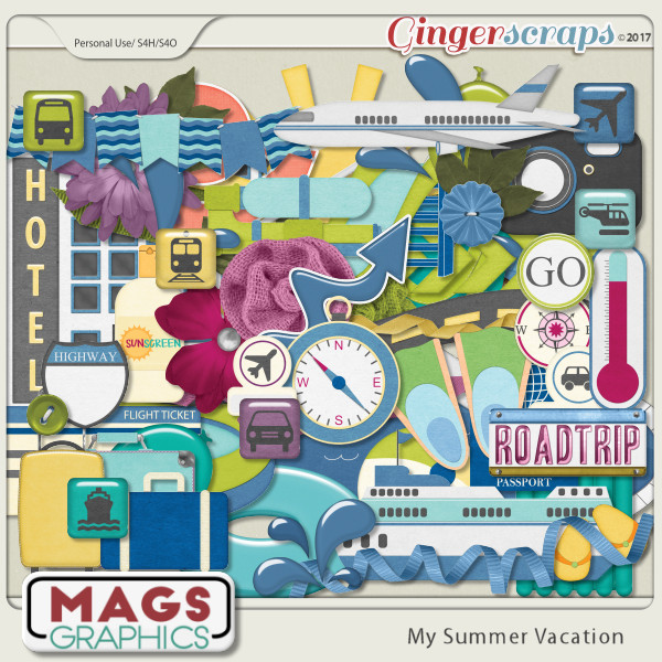 My Summer Vacation ELEMENTS PACK by MagsGraphics
