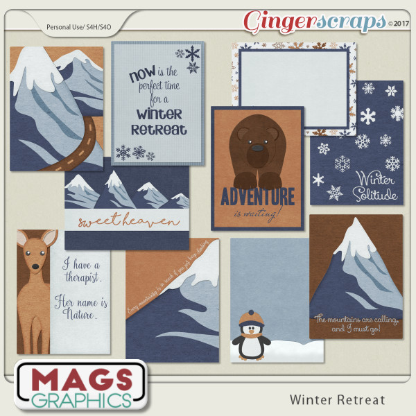 Winter Retreat JOURNAL CARDS by MagsGraphics