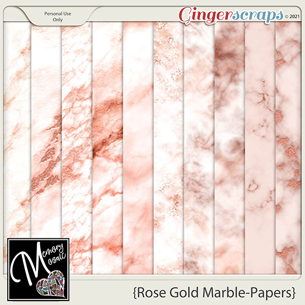 Rose Gold Marble-Papers by Memory Mosaic