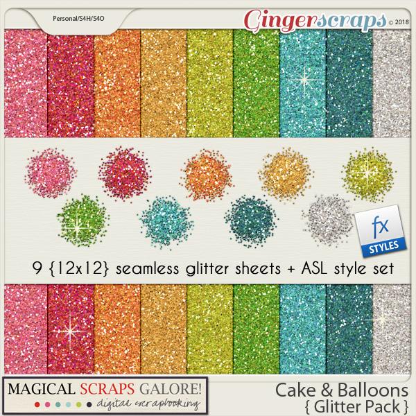 Cake & Balloons (glitter pack)