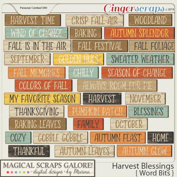 Harvest Blessings (word bits)