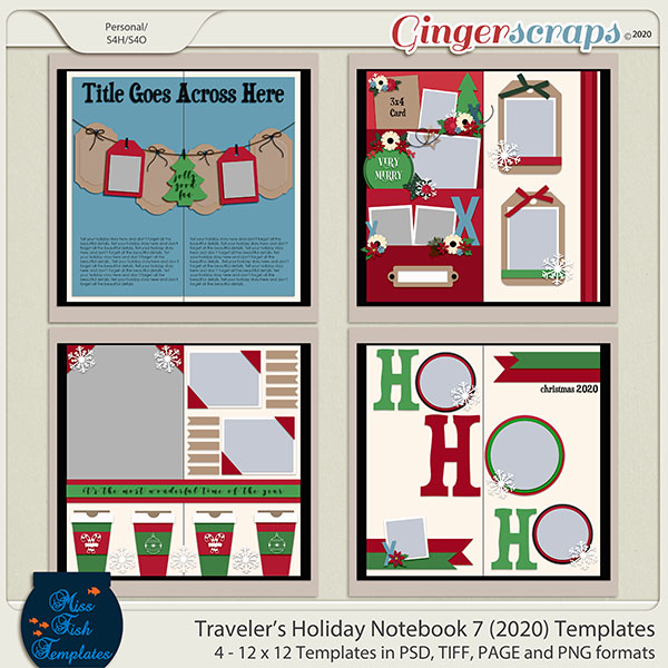 Holiday Travelers Notebook 7 Templates by Miss Fish
