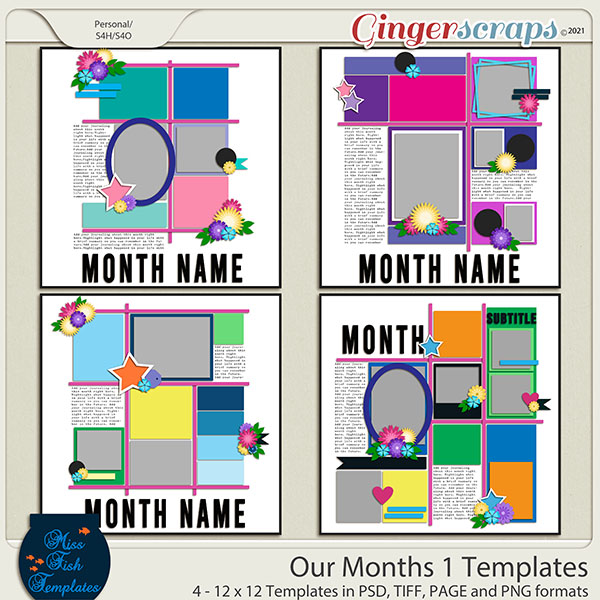 Our Months 1 Templates by Miss Fish