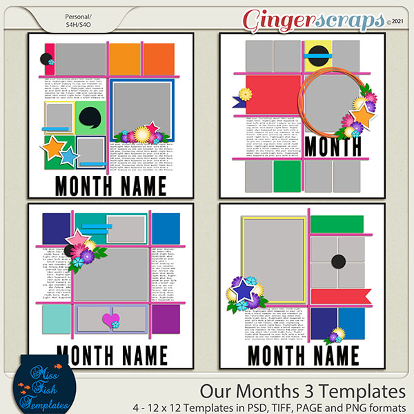 Our Months 3 Templates by Miss Fish