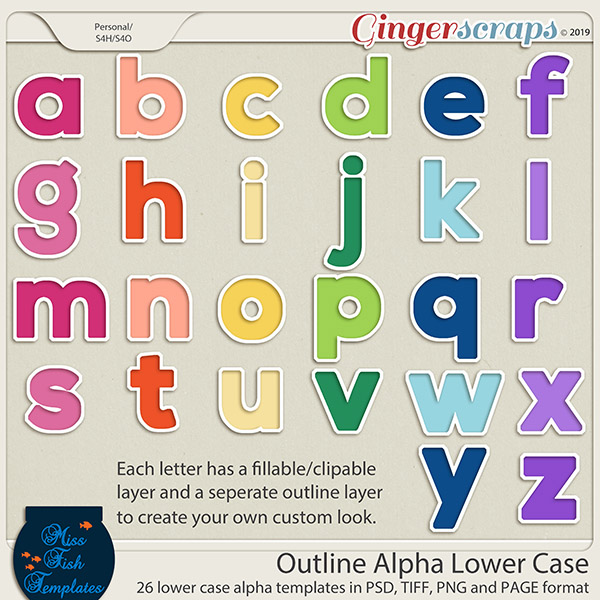Outline Alpha Lower Case Templates by Miss Fish