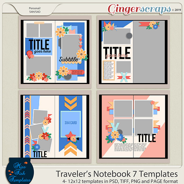 Travelers Notebook 7 Templates by Miss Fish