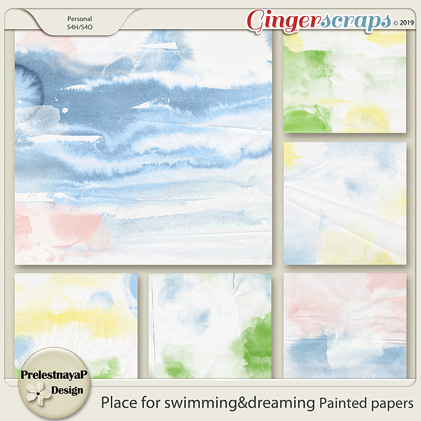 Place for swimming&dreaming Painted papers