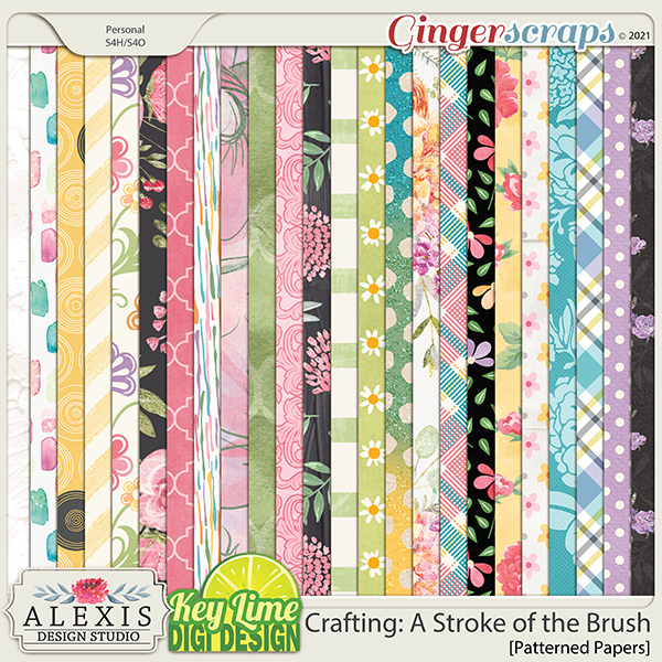 Crafting: A Stroke of the Brush Patterned Papers by Alexis Design Studio and Key Lime Digi Design