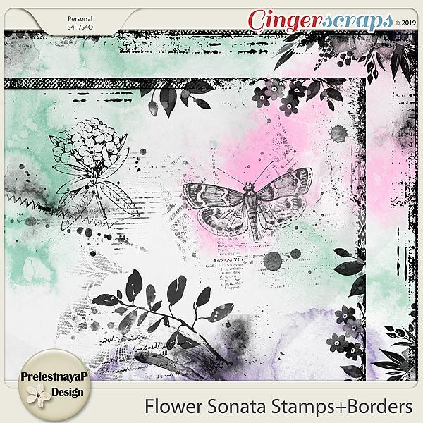 Flower Sonata Stamps+Borders