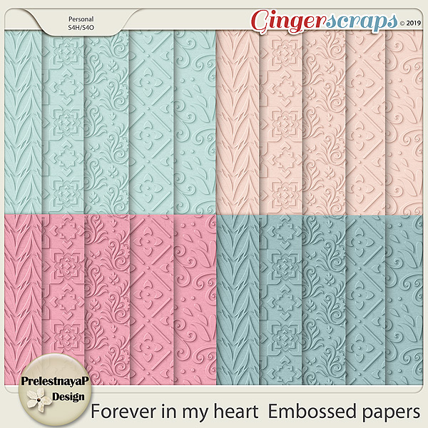 Forever in my heart Embossed papers