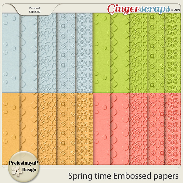 Spring time Embossed papers