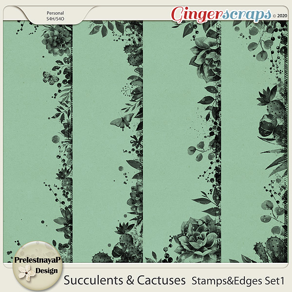 Succulents and Cactuses Stamps & Edges Set1