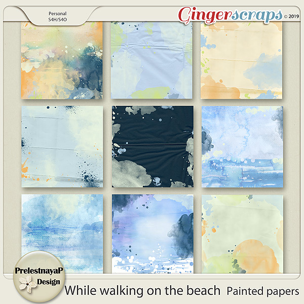 While walking on the beach Painted papers
