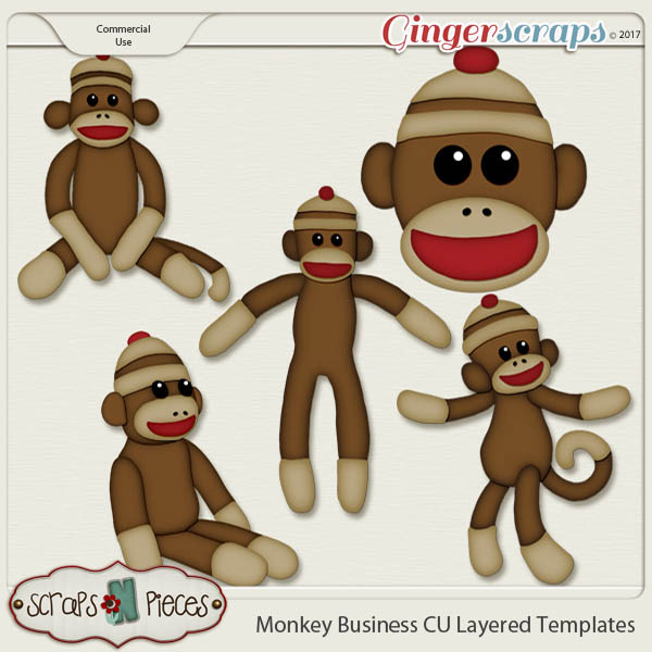 Monkey Business CU Layered Templates - Scraps N Pieces