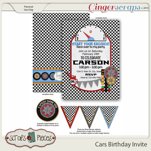 Cars Birthday Invitation by Scraps N Pieces