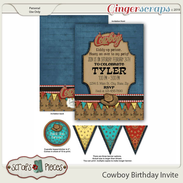 Cowboy Birthday Invitation by Scraps N Pieces