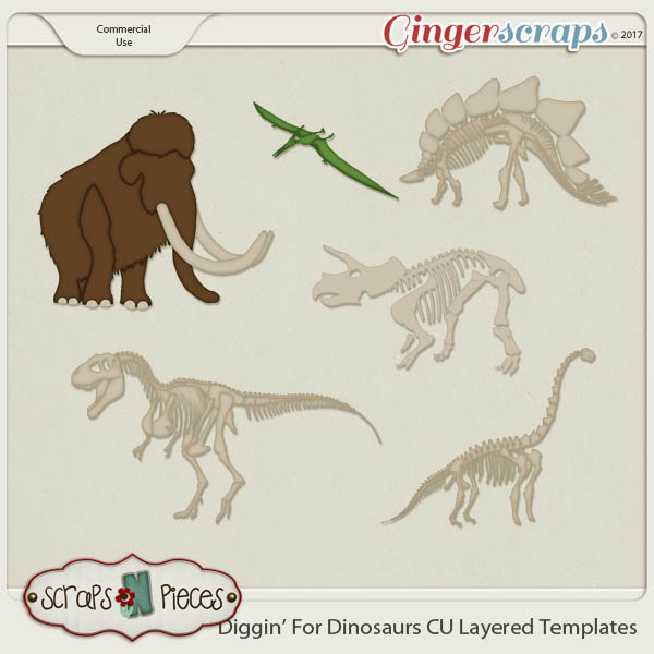 Diggin' For Dinosaurs CU Layered Templates - Scraps N Pieces
