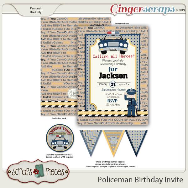 Policeman Birthday Invitation by Scraps N Pieces