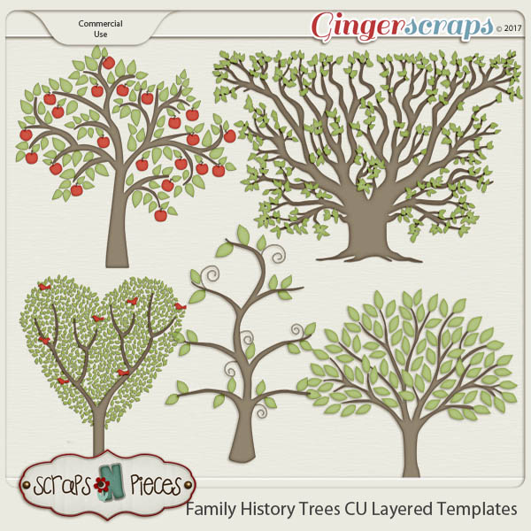 Family History Tree CU Layered Templates - Scraps N Pieces