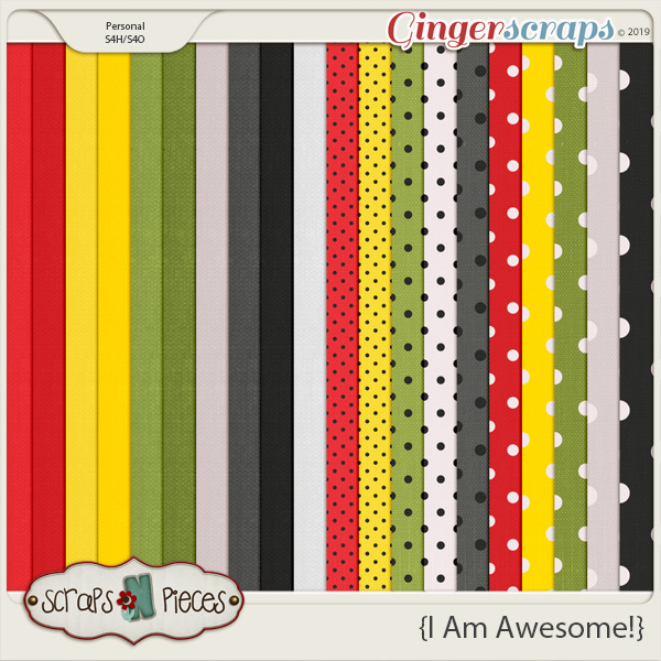 I Am Awesome Cardstocks and Dotted Paper Pack by Scraps N Pieces