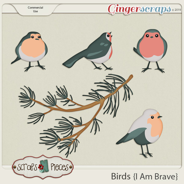 I am Brave Birds CU Layered Templates - Scraps N Pieces