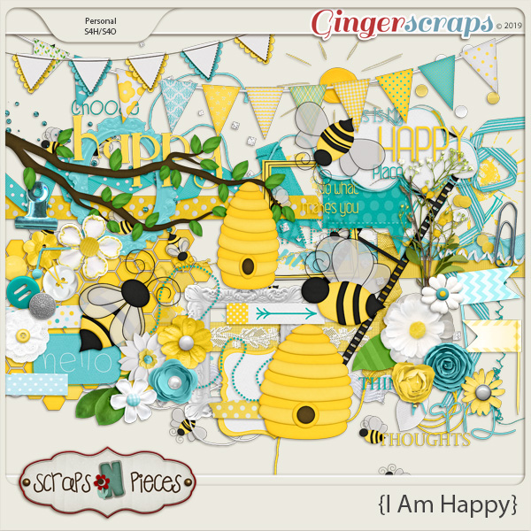 I Am Happy Embellishments by Scraps N Pieces