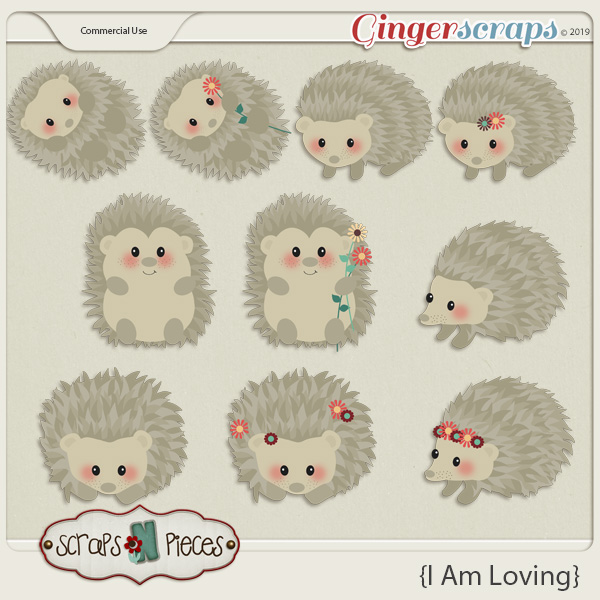 I am Loving Hedgehogs CU Layered Templates - Scraps N Pieces