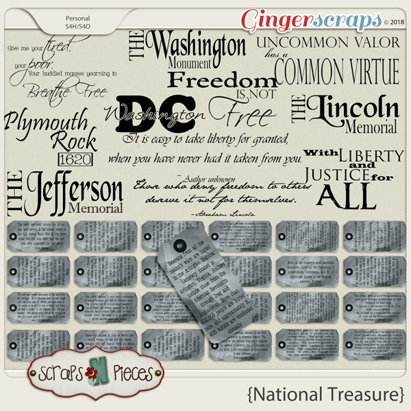 National Treasure Tags and Word Art by Scraps N Pieces