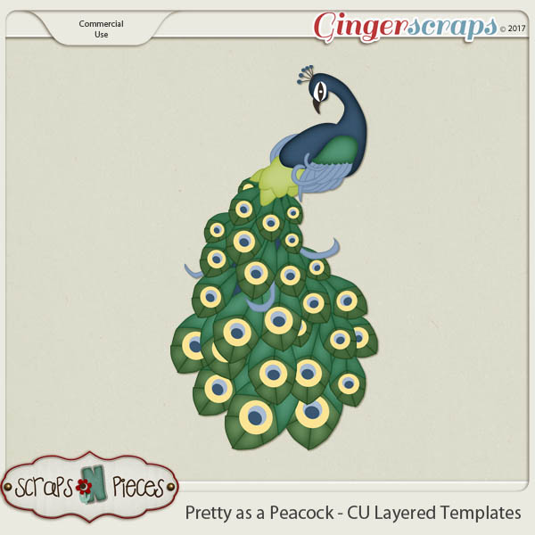 Pretty as A Peacock CU Layered Template - Scraps N Pieces