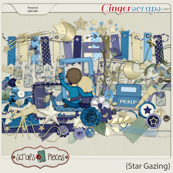 Star Gazing embellishments by Scraps N Pieces
