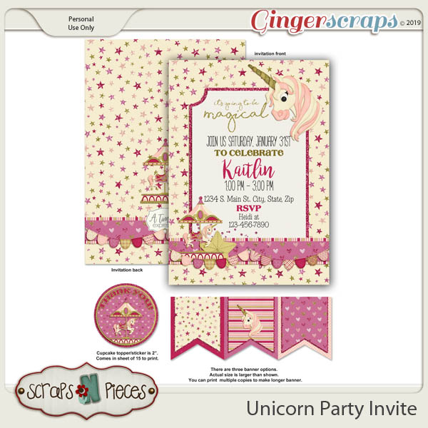 I Believe In Unicorns Birthday Invitation by Scraps N Pieces